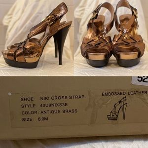 New MICHAEL KORS Nikki Cross Strap Sandals Heels